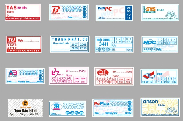 in ấn tem bảo hành