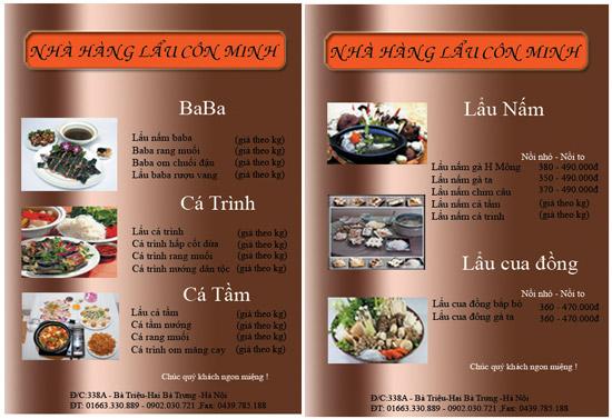 mẫu menu thực đơn nhà hàng đẹp