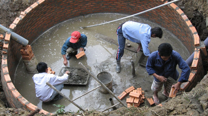 bể biogas xây bằng gạch